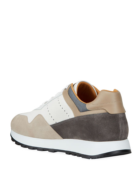 Image 4 of 4: Magnanni for Neiman Marcus Men's Colorblock Leather/Suede Runner Sneakers