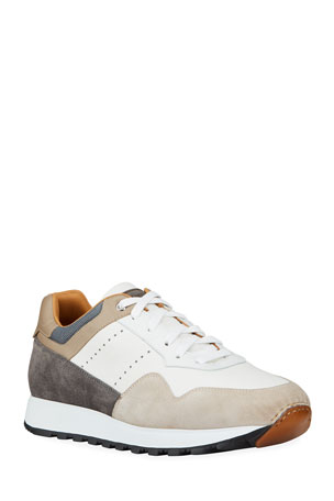 Magnanni for Neiman Marcus Men's Colorblock Leather/Suede Runner Sneakers