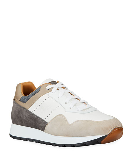 Image 1 of 4: Magnanni for Neiman Marcus Men's Colorblock Leather/Suede Runner Sneakers