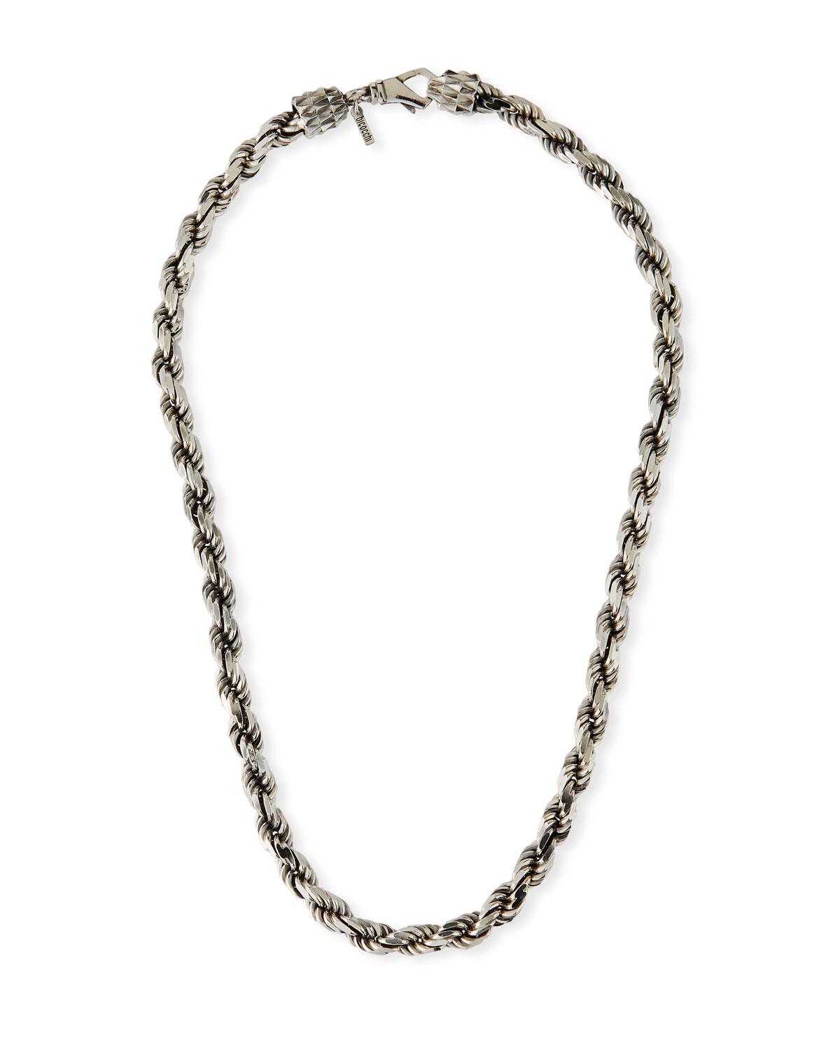 French Rope Chain Necklace Silver