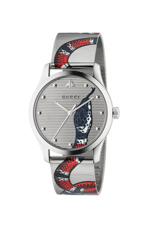 Gucci Men's Snake Mesh Stainless Steel Bracelet Watch