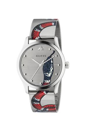 Gucci Men's Snake Mesh Stainless Steel Bracelet Watch