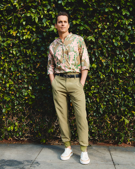 Image 2 of 5: Salvatore Ferragamo Men's Graphic-Print Short-Sleeve Sport Shirt
