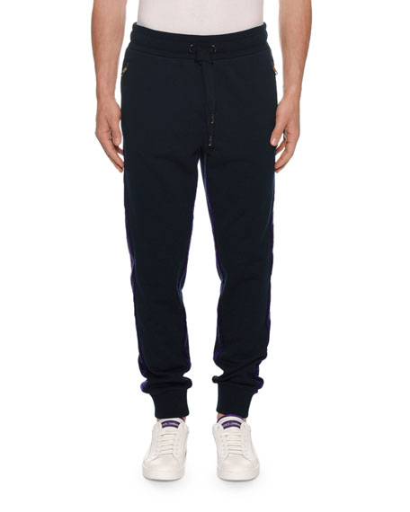 Dolce & Gabbana Men's Two-Tone Velvet Jogger Pants