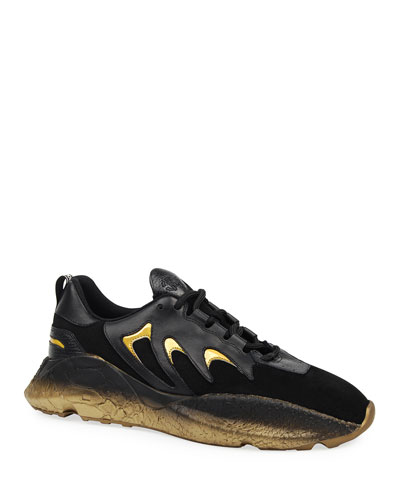 Men's Viper Suede & Leather Snake-Effect Sneakers