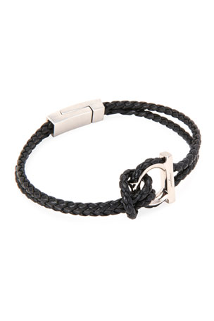 Salvatore Ferragamo Men's Gancio Braided Leather Rope Bracelet