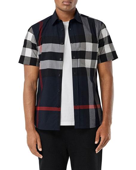 Burberry Men's Somerton Check Short-Sleeve Sport Shirt