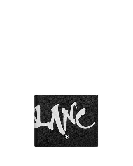 Image 1 of 2: Montblanc Men's Saffiano Leather Graffiti Logo Wallet
