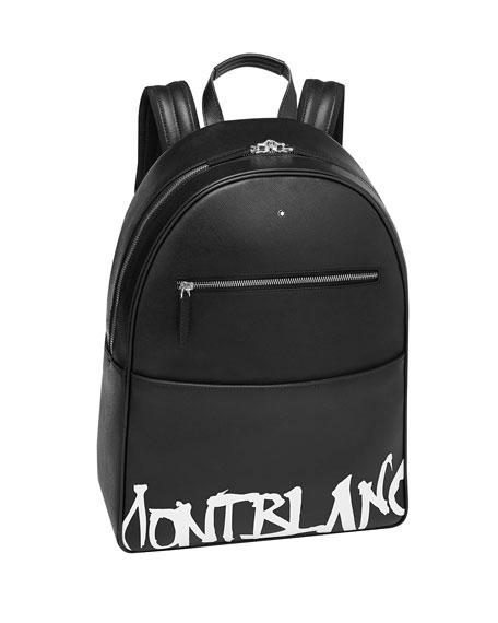 Montblanc Backpacks MEN'S SAFFIANO LEATHER GRAFFITI LOGO BACKPACK