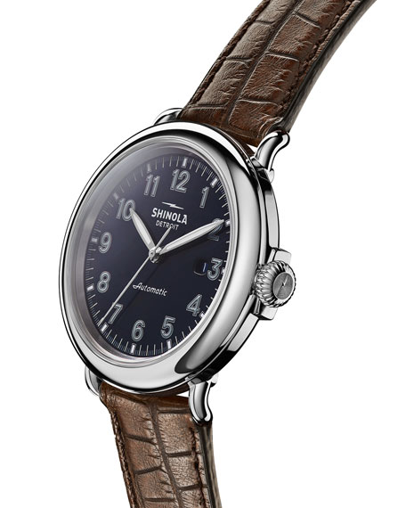 Image 3 of 5: Shinola Men's 45mm Runwell Automatic Watch with Alligator Strap