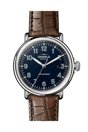 Shinola Men's 45mm Runwell Automatic Watch with Alligator Strap