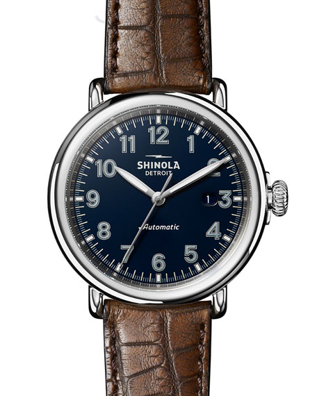 Image 1 of 5: Shinola Men's 45mm Runwell Automatic Watch with Alligator Strap