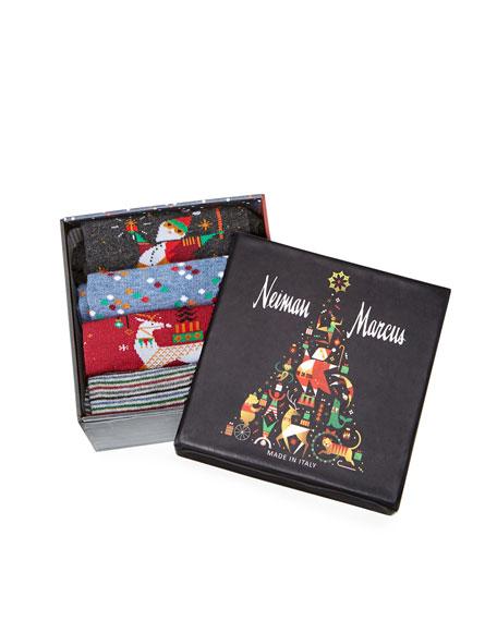 Neiman Marcus Men's 4-Pack Wool-Blend Socks in Holiday Gift Box