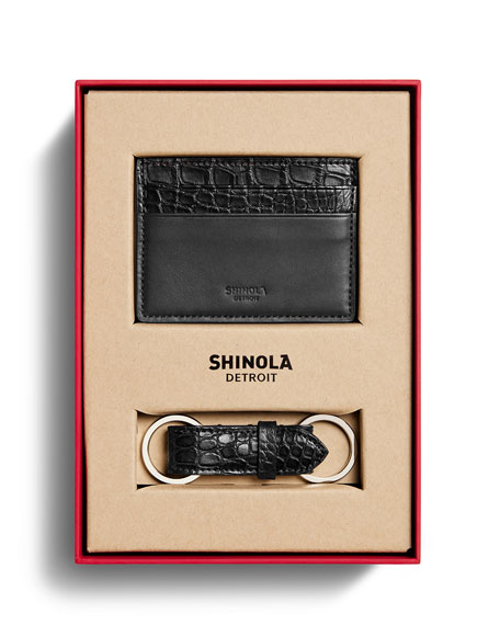 Shinola Cases Men's Alligator Card Case/Key Fob Box Set