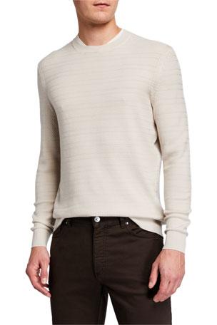 Ermenegildo Zegna Men's Textured-Stripe Performance Wool Sweater