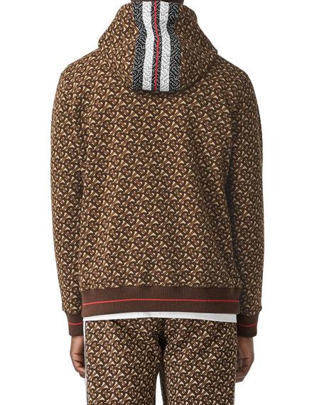 Burberry Men's Muckford TB-Monogram Hoodie Sweatshirt w/ Stripes