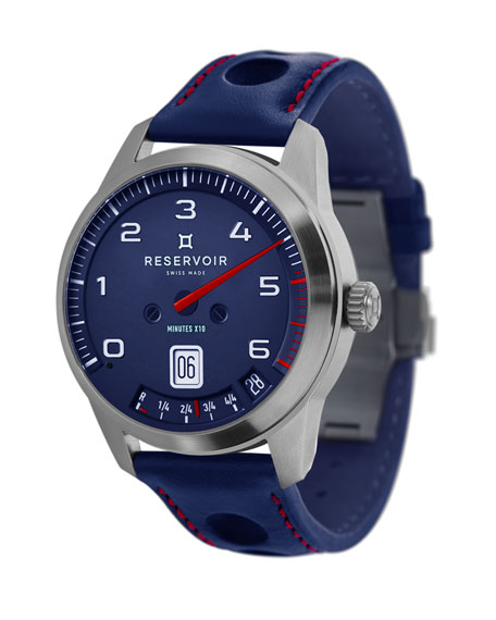 Reservoir Men's GT Tour Stainless Steel/Cutout Leather Watch