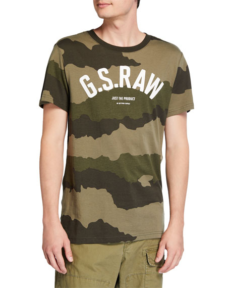 G-Star Men's Camo-Print Typographic T-Shirt