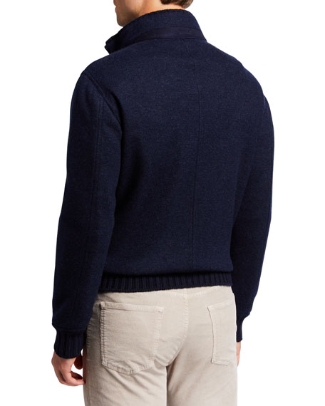 Mandelli Men's Cashmere Zip-Front Sweater