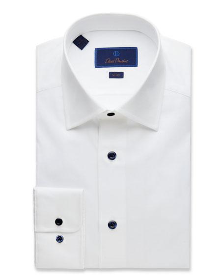 David Donahue Men's Slim-Fit Superfine Twill Dress Shirt