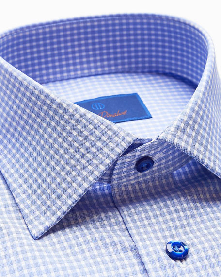 Image 2 of 2: David Donahue Men's Slim-Fit Gingham Check Dress Shirt