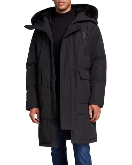Karl Lagerfeld Men's Faux Fur-Lined Long Parka Coat