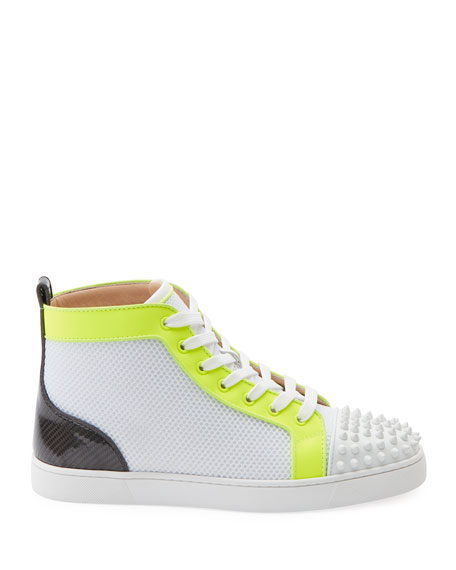 Image 2 of 2: Christian Louboutin Men's Lou Spikes Orlato Mesh/Leather High-Top Sneakers