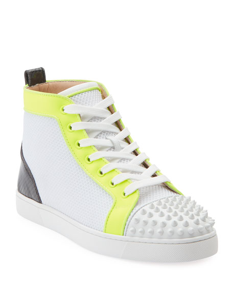 Image 1 of 2: Christian Louboutin Men's Lou Spikes Orlato Mesh/Leather High-Top Sneakers