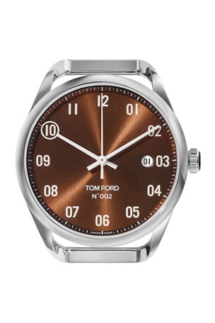 TOM FORD TIMEPIECES Automatic Round Polished Stainless Steel Watch Case, Brown Dial, Large