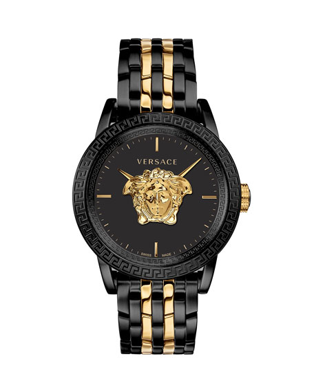 Versace Men's 43mm Palazzo Empire Watch, Black/Yellow Gold