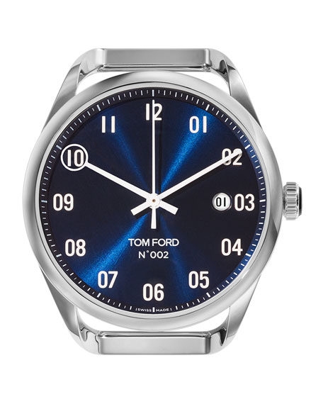 TOM FORD TIMEPIECES Automatic Round Polished Stainless Steel Watch Case, Blue Dial, Large