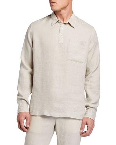 Men's Linen Long-Sleeve Polo Shirt