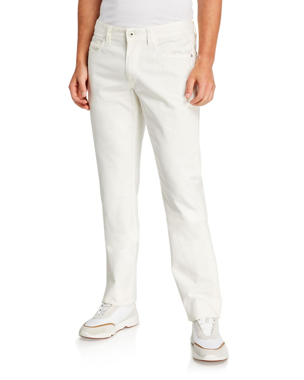 Loro Piana Men's White 5-Pocket Stretch-Cotton Pants