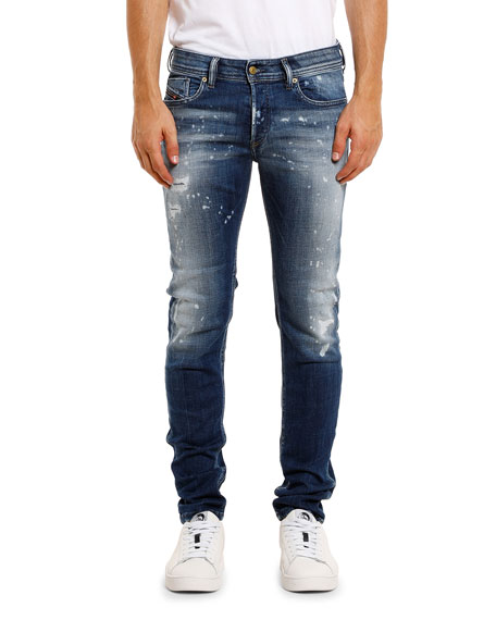 Diesel Men's Sleenker Skinny Stretch-Denim Jeans w/ Paint Splatter