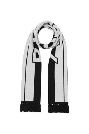 Burberry Men's Two-Tone Striped Logo Scarf