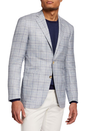 Canali Men's Wool/Silk/Linen Windowpane Blazer