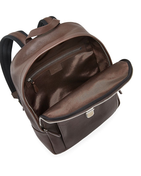 Image 2 of 3: dunhill Men's Belgrave Leather Backpack with Push-Lock Pocket