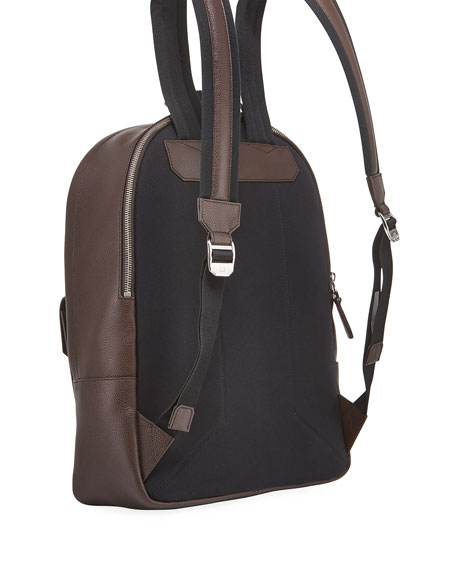 Image 3 of 3: dunhill Men's Belgrave Leather Backpack with Push-Lock Pocket