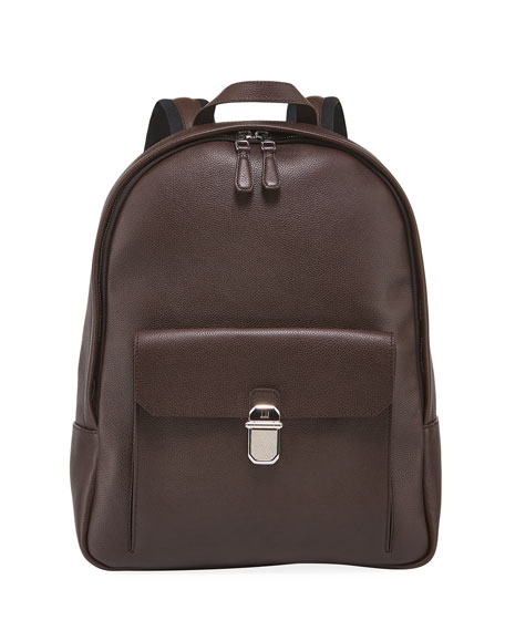 Image 1 of 3: dunhill Men's Belgrave Leather Backpack with Push-Lock Pocket
