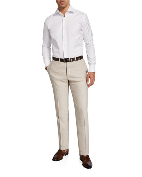 Image 3 of 3: Canali Men's Linen-Wool Pants