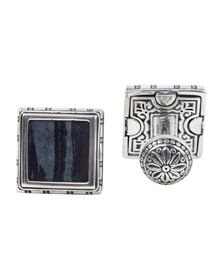 Image 1 of 2: Konstantino 18K White Gold Ferrite Cufflinks