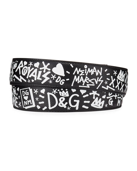 Dolce & Gabbana Men's Graffiti Leather Belt