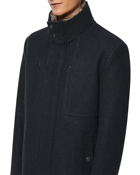 Andrew Marc Men's Westerhall Coat w/ Fur Trim