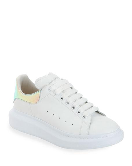 Alexander Mcqueen Platforms Men's Leather Platform Sneakers with Iridescent Back