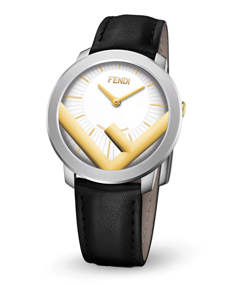 Image 2 of 3: Fendi Men's Run Away F is Fendi Logo Analog Leather Watch with Black Strap