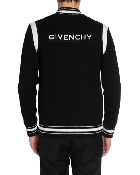 Givenchy Men's Knitted Snap-Front Bomber Jacket