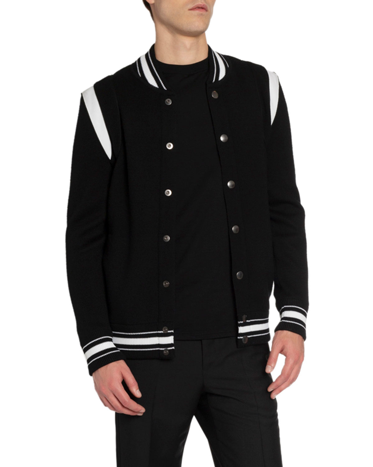 Men's Knitted Snap Front Bomber Jacket by Givenchy