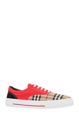 Burberry Men's Vintage Check Colorblock Canvas Skate Sneakers