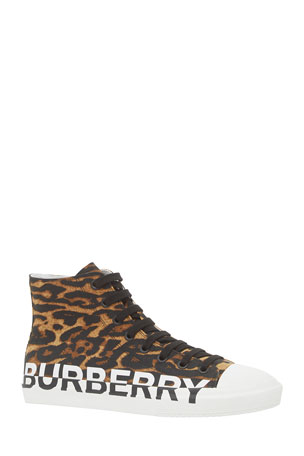 Burberry Men's Larkhall Leopard-Print Logo High-Top Sneakers