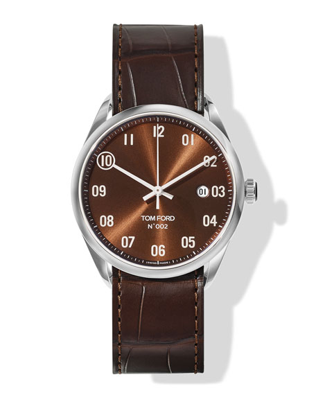 Image 1 of 3: TOM FORD TIMEPIECES N.002 40mm Round Alligator Leather Watch